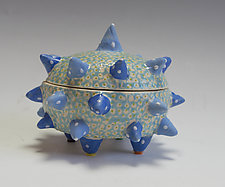 Triple Blue Urchin Container by Vaughan Nelson (Ceramic Box)