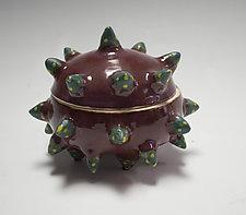 Smokey Merlot Urchin Container by Vaughan Nelson (Ceramic Box)