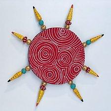 Red Optix Sun by Vaughan Nelson (Ceramic Wall Sculpture)