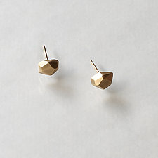 Small 14K Gold Faceted Nugget Stud by Kendra Renee (Gold Earrings)