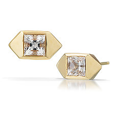 Pyramid Posts in 14K Gold by Kendra Renee (Gold & Stone Earrings)