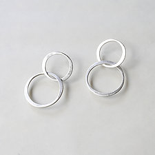 Infinity Hoops in Brushed Silver by Kendra Renee (Silver Earrings)