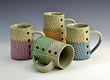 Two-Tone Knitted Mugs by Charan Sachar (Ceramic Mug)