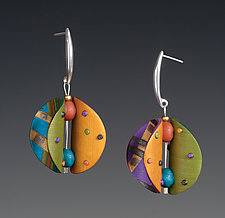 Wings Round Multi-Color Earrings by Arden Bardol (Polymer Clay Earrings)