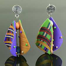 Wings Earrings Teardrop in Purple Green Mix by Arden Bardol (Polymer Clay Earrings)