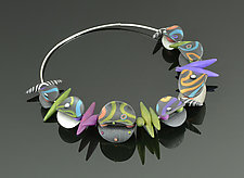 Wings on a Wire - Graphite Color Mix by Arden Bardol (Polymer Clay Necklace)