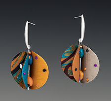 Wings Round - Teal Blue Green by Arden Bardol (Polymer Clay Earrings)