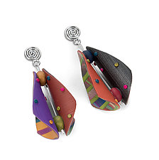 Wings Teardrop Earrings - Raspberry Multi Mix by Arden Bardol (Polymer Clay Earrings)