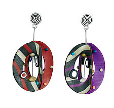Lantern Round Purple Red by Arden Bardol (Polymer Clay Earrings)