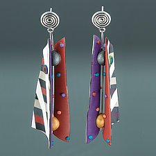 Razor Shell - Red Purple Multi Mix by Arden Bardol (Polymer Clay Earrings)