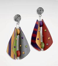 Wings Teardrop Earrings - Primary Mix by Arden Bardol (Polymer Clay Earrings)