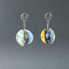 Wings Round Small Blue Gray by Arden Bardol (Polymer Clay Earrings)