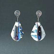 Wings Teardrop Small Blue Neutral I by Arden Bardol (Polymer Clay Earrings)