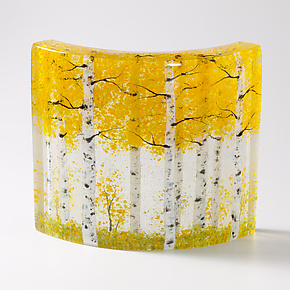 Golden Aspen Forest by Amanda Taylor (Art Glass Sculpture)
