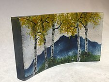 Blue Ridge Mountain Fall Overlook I by Amanda Taylor (Art Glass Sculpture)