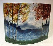 Misty Blue Ridge Mountain Fall Overlook III by Amanda Taylor (Art Glass Sculpture)