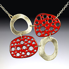 Mod Perforated Choker in Red by Beth Novak (Enameled Necklace)