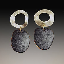 Mod Black and White Earrings by Beth Novak (Enameled Earrings)