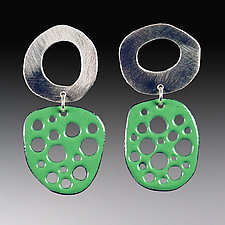 Mod Perforated Silver and Enamel Earrings by Beth Novak (Enameled Earrings)