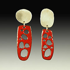 Mod Slender Perforated Earrings by Beth Novak (Enameled Earrings)