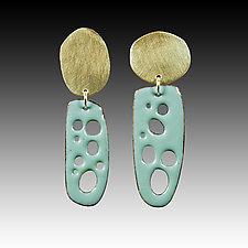 Mod Slender Perforated Earrings by Beth Novak (Enameled Earrings)