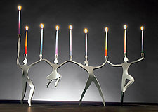 Line Dancing Menorah by Boris Kramer (Metal Menorah)