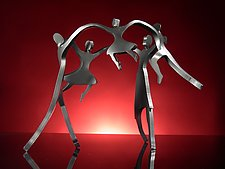 Dancing Family with Three Children by Boris Kramer (Metal Sculpture)
