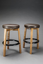 Wood and Leather Bar Stool by Todd  Bradlee (Wood and Leather Stool)