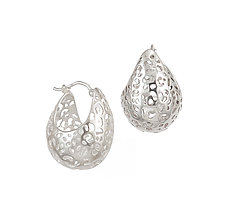 Small Leopard Basket Hoop Earrings by Rachel Atherley (Silver Earrings)