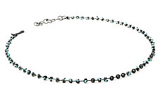 Opaline Blue Beadchain Necklace by Lauren Schlossberg (Art Glass & Silver Necklace)