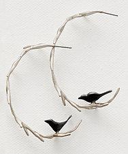 Vine with Black Birds Hoops by Lisa  Cimino (Silver Earrings)