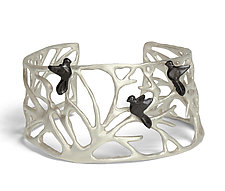 Large Trees and Bird Cuff by Lisa  Cimino (Silver Jewelry)