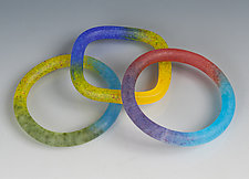 Frosted Finished Kiln-Cast Bangle by Carol Martin (Art Glass Bracelet)