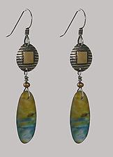 Disks with Drop Pod Earrings in Amber by Carol Martin (Gold, Silver & Art Glass Earrings)