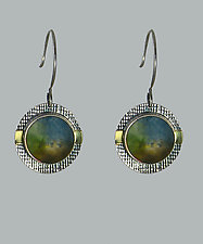Cool-Toned Vista Earrings by Carol Martin (Gold, Silver, & Art Glass Earrings)