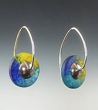 Drop Disc Earrings in Caribbean by Carol Martin (Art Glass & Silver Earrings)