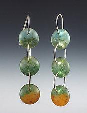 Three Drop Earrings in Aqua, Pine, and Orange by Carol Martin (Art Glass & Silver Earrings)