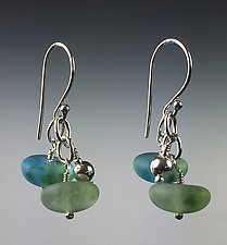 Bobble Earrings in Island by Carol Martin (Art Glass & Silver Earrings)