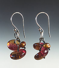 Bobble Earrings in Cranberry and Brown by Carol Martin (Art Glass & Silver Earrings)