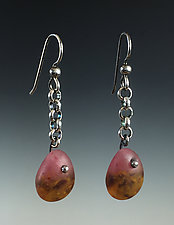 Tear Drop Earring in Sonora by Carol Martin (Art Glass & Silver Earrings)
