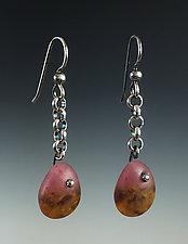 Tear Drop Earring in Sonora by Carol Martin (Art Glass & Silver Earrings)