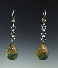 Tear Drop Earring in Amber and Opal by Carol Martin (Art Glass & Silver Earrings)