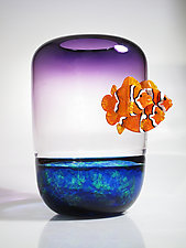 Purple Vase with Clownfish by David Leppla (Art Glass Vase)