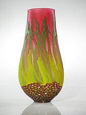 Red Sea Fan Vase by David Leppla (Art Glass Vase)
