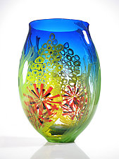 Blue Seascape Vase by David Leppla (Art Glass Vase)
