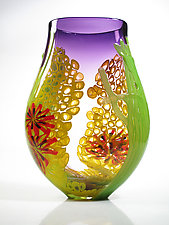 Purple Seascape Vase by David Leppla (Art Glass Vase)