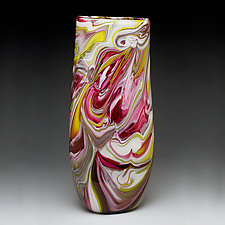 Flattened Cylinder Marble Vase by Bryan Goldenberg (Art Glass Vase)