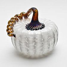Gold Stem Pumpkin - White by Bryan Goldenberg (Art Glass Sculpture)