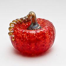 Gold Stem Pumpkin - Red by Bryan Goldenberg (Art Glass Sculpture)