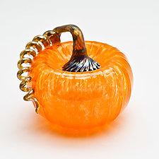 Gold Stem Pumpkin - Orange by Bryan Goldenberg (Art Glass Sculpture)